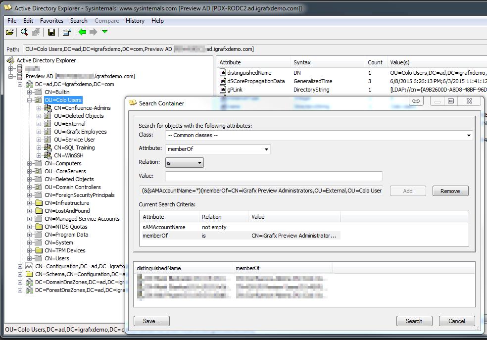 Test LDAP queries - iGrafx Platform 17 1